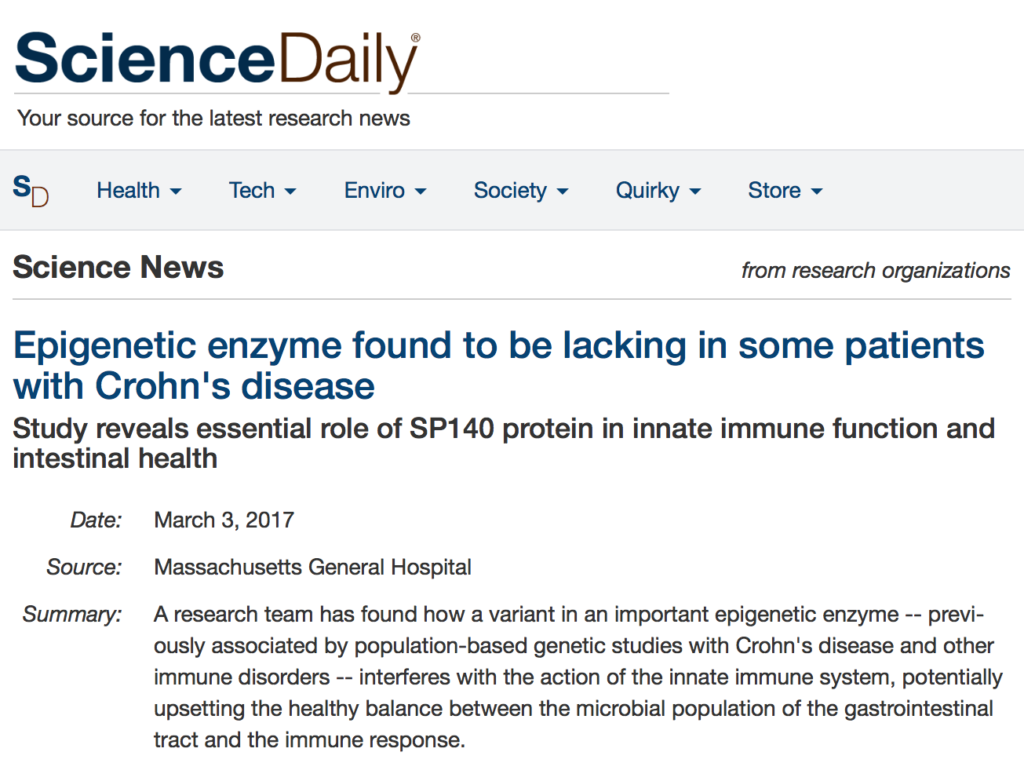 Science Daily: Epigenetic enzyme found to be lacking in some